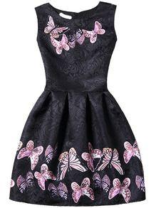 Kleid ärmellos mit Schmetterlingsdruck plissiert -schwarz
