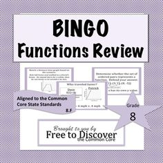 BINGO: Functions Review Game. Aligned to 5 CCSS 8.F.A.1 - 8.F.B.5. 18 review questions included in this editable PowerPoint review game.  A fun way to incorporate cooperative learning in the classroom!