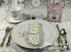 Art Impressions Rubber Stamps: Easter Basket (sku#4117), napkin holders using the small Easter chicks (sku#4025) and goodie bags using Basket Bunnies ...handmade Easter Place Setting