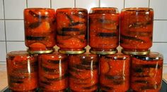 Eggplant in the winter Hot Snacks, Canning Recipes, Ketchup, Eggplant, Preserves, Food And Drink, Tasty, Stuffed Peppers, Fruit