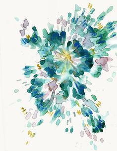 Blue & Green Abstract Watercolor (looks like a flower to me)