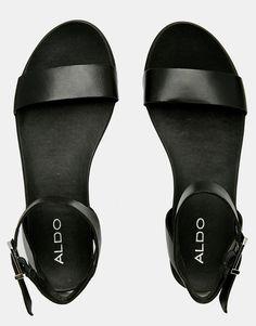 Image 3 of ALDO Erina Black Simple Strap Flat Sandals