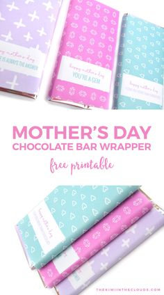 Come give your mom the one thing you know shel'll always want: chocolate! And do it in style with these free printable mothers day candy bar wrappers.