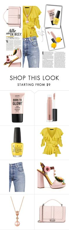 """""""glow"""" by e-memagic ❤ liked on Polyvore featuring NYX, MAC Cosmetics, OPI, Elie Saab, Levi's, Dolce&Gabbana, LE VIAN and Rebecca Minkoff"""
