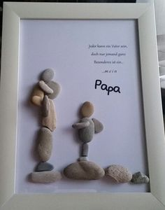 """Product name """"dreamteam"""" pebble picture worked on glass frame .- Produktname """"dreamteam"""" Kieselsteinbild auf Glasrahmen gearbeitet mit den Maßen… – DIY Ideen Product name dreamteam pebble picture on glass frame worked with the dimensions - Diy Father's Day Gifts, Father's Day Diy, Diy Christmas Gifts, Christmas Christmas, Pebble Pictures, Stone Pictures, Father Birthday Gifts, Gifts For Father, Wallpaper World"""