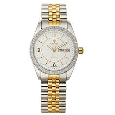 Croton Womens Stainless Steel Two Tone Crystal Bezel Watch