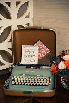 Vintage Aqua Typewriter | Esenses Studio | See More! http://heyweddinglady.com/retro-fabulous-mad-men-wedding-styled-shoot-from-esenses-stud...