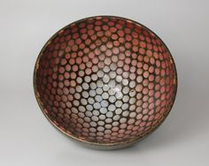 Beautiful Stoneware Ceramic Bowl with a Red to Blue Dot Pattern by Amuse You