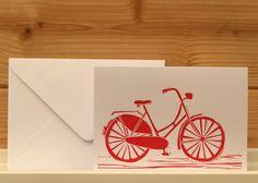 Greeting card with original LINO PRINT .. bicycle .. Free P in UK