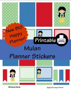 New BIG Happy Planner Mulan PDF PRINTABLE Planner Stickers Erin Condren Planner Filofax Plum Paper Decorating Kit Disney by WhimsicalWende on Etsy