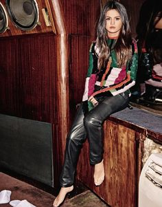 Selena Gomez // long glossy hair, colorblock abstract sequin top and leather pants #style #fashion #celebrity