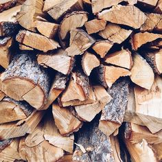 autumn and fall aesthetic - stacked firewood