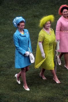 (L-R) Princess Anne, the Queen Mother and Princess Margaret on 1st July 1969
