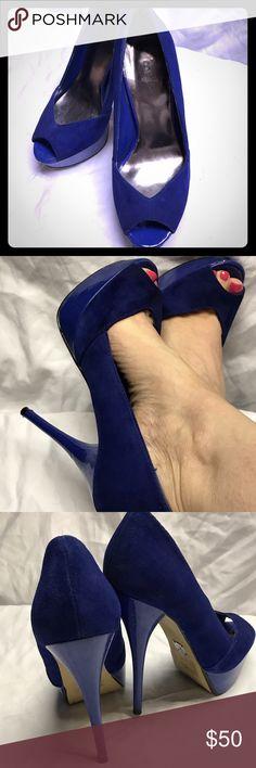 Vivid blue peep toe heels Gorgeous electric blue suede peep toe heels. Size 5. Gently used. Bakers Shoes Heels