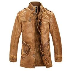 STANDING COLLAR FAUX LEATHER JACKET