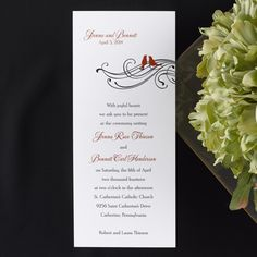 Winter wedding invitation idea features red birds.   A lovely birds and scroll design highlights this bright white non-folding tea length invitation.                DAT9141FCBR