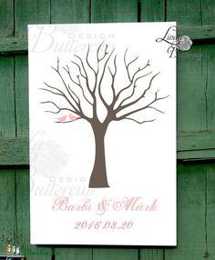 Ujjlenyomatfa, Esküvői fa, Esküvői ujjlenyomat fa, szerelmes madár pár, Rusztikus Esküvői dekor, Fa festmény, Esküvő, Esküvői dekoráció, Meghívó, ültetőkártya, köszönőajándék, Nászajándék, Meska