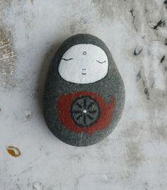 Large Dark Grey Beach Stone Jizo Bodhisattva with by LillaJizo. $50.00 USD, via Etsy.