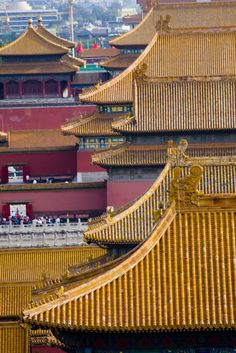 Looking down over the Forbidden City on the golden rooftops that once housed emperors. Palacio Imperial, China Architecture, Imperial Palace, Beijing China, Old Building, China Travel, Legend Of Korra, Emperor, Rooftop