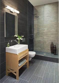 Small bathroom with 12 x 24 inch tile...