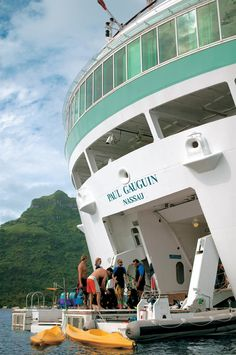 Paul Gauguin Cruises... water activities off the deck of the boat.