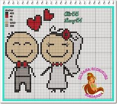 This Pin was discovered by Nur Cross Stitch Bookmarks, Mini Cross Stitch, Cross Stitch Heart, Cross Stitching, Cross Stitch Embroidery, Embroidery Patterns, Wedding Cross Stitch Patterns, Stitch Cartoon, Pixel Pattern
