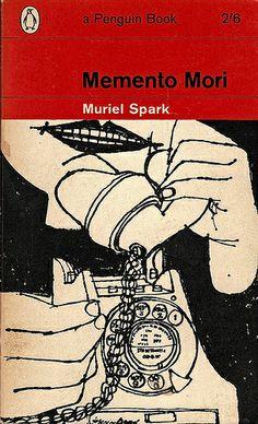 Penguin cover art by Terence Greer for Memento Mori by Muriel Spark (vintage art, illustration, illustrator) Book Cover Art, Book Cover Design, Book Design, Book Art, Vintage Book Covers, Vintage Books, Antique Books, Vintage Art, Penguin Publishing