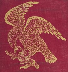 Sample of block printed cotton cloth with a design of a yellow eagle clasping a snake on a red ground, possibly intended for Mexico where the eagle and snake are used as national emblems. From pattern book 'Colour Block Book 1'. Part of the Turkey Red Collection, A.1962.1266.1 - A.1962.1266.78, with subdivisions, totalling c. 40,000 items: Scottish, Dunbartonshire, by United Turkey Red Co. Ltd, c. late 19th century - early 20th century.