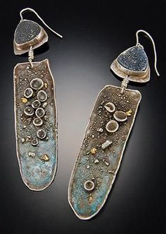 Tai Vautier  |  Fabulous fused druzy  earrings and 22kt  gold with enamel:  $495