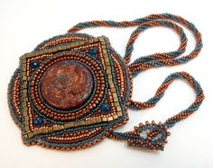 Vesta Roman Tile Brooch Necklace EBWC by beadn4fun on Etsy, $69.00