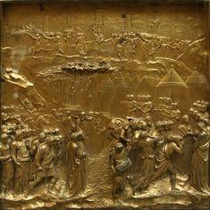 A queda de Jericó. 1425-1452. Painel de bronze. Lorenzo Ghiberti (Florença, Itália, 1378 - 01/12/1455, Florença, Itália). Painel da 'Porta do Paraíso' situado no Batistério de São João na Praça do Duomo em Florença, região da Toscana, Itália. Encontra-se hoje no Museu da Ópera do Duomo em Florença.