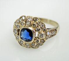 Edwardian Inspired Sapphire and Diamond RIng #edwardianinspired #somethingblue #diamond