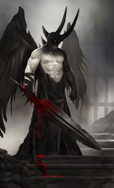 I did this for a Character Design challenge, here's the description: It pains the higher gods to be forced to send, a once loyal guardian, to the abyss. Fallen Angel of the Broken Gate Fantasy Monster, Monster Art, Dark Fantasy Art, Fantasy Artwork, Demon Artwork, Fantasy Art Angels, Dark Artwork, Fantasy Creatures, Mythical Creatures