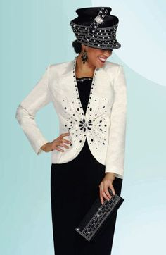 Black and White Womens Church Suit BenMarc International 4432 image
