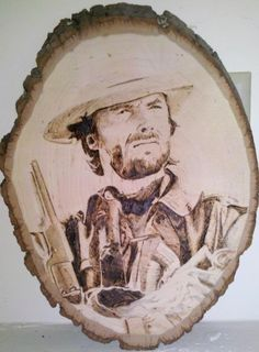 clint outlaw woodburning portrait on basswood slice by SaintlyWood, $199.00