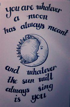 ee cummings, sun moon, illustration quotation my own design