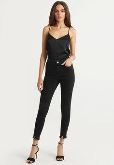 Lipsy RISE RING DETAIL - Jeans Tapered Fit - black - Zalando.de