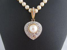 Vintage RICHELIEU Stunning Clip On Pendant GT Glass Crystal Faux Pearl ~ Bridal #RICHELIEU