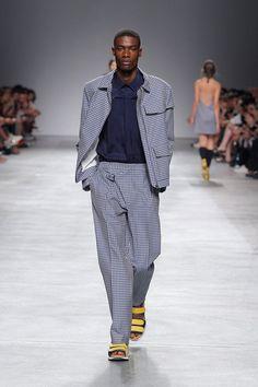 Embroidery Jacket, Blue Shirt & Diagonal Flap Trousers #embroidery #jacket #vichy #blue #shirt #trousers #diagonal #man #spring #summer #man #luiscarvalho
