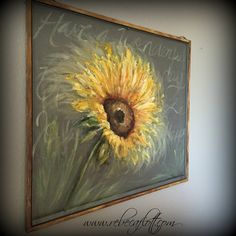 Old recycle window Screen SUNFLOWER Spring art by RebecaFlottArts