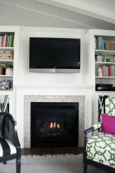 Tutorial for building a fireplace surround with mantel and surrounding book shelves