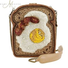 Eggs and Bacon on Toast (One of a Kind beaded handbag by Mary Frances) Types Of Handbags, Purses And Handbags, Beaded Purses, Beaded Jewelry, Mary Frances Purses, Novelty Handbags, Money Bags, Vintage Jewelry Crafts, Unique Purses