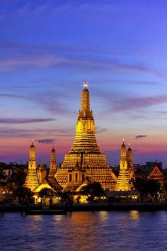 Wat Arun, Bangkok, Thailand Glowing in the Night