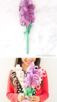 Giant DIY Paper Hyacinth Flower Bouquet - Craft World Cool Art Projects, Projects For Kids, Diy For Kids, Crafts For Kids, Mother's Day Projects, Great Mothers Day Gifts, Mothers Day Crafts, Mothers Day Ideas, Paper Flowers Diy