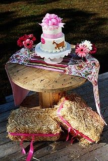 cowgirl- super cute! I'd use the hay bale and electrical spool idea for a cowboy party!