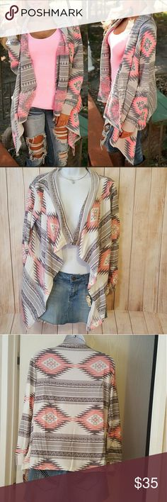 Cardigan Sweater Pink Grey Boho Tribal Stripe Diam Really cute pink and grey cardigan. It is very thin and lightweight,  still new in the package. It has a cute diamond and striped pattern, great for layering!   Smoke free home. Free gift with all purchases. Items with a heart 💖 in the title are 5 for $25. Some items can be added on for only $1 (Says $1 Add on in the title). Bundle & save!!   MAKE AN OFFER!!    Pink Grey white cream open cardigan sweater tunic long sleeve diamond stripe…