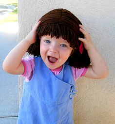Cabbage Patch Wig Chocolate Brown Pigtail Baby Hat by YumbabY