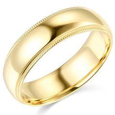 14K-Yellow-Gold-2mm-3mm-4mm-5mm-6mm-Comfort-Fit-Men-Women-Milgrain-Wedding-Band