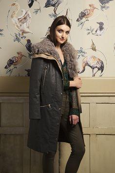 AW13 Trend - Embellishment - Equipment Shirt, J Brand RTW coat & Current/Elliott Multizip Stilletto jeans #denim #fur #embellishment #aw13