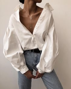 Puff sleeve cotton blouse A luxe 70 count cotton compact yarn shirt treated with liquid ammonia Mode Outfits, Casual Outfits, Summer Outfits, Fashion Outfits, Womens Fashion, Fashion Tips, Casual Shirt, Fashion Trends, Fashion Clothes
